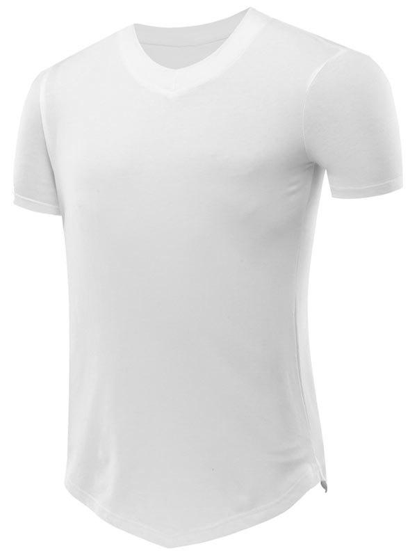 Short Sleeve Tee with V Hem - WHITE L