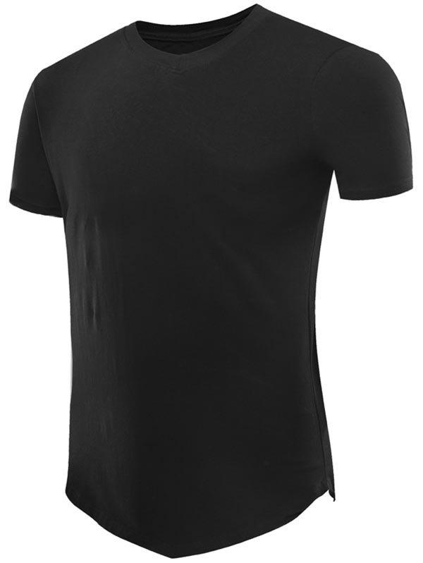 Short Sleeve Tee with V Hem - BLACK M