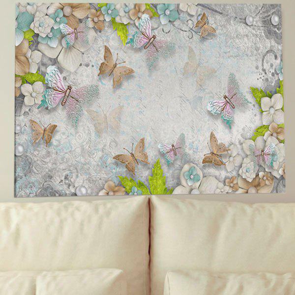 Canvas Wall Art Unframed Butterfly Flower Print Painting - GRAY 1PC:24*39 INCH( NO FRAME )