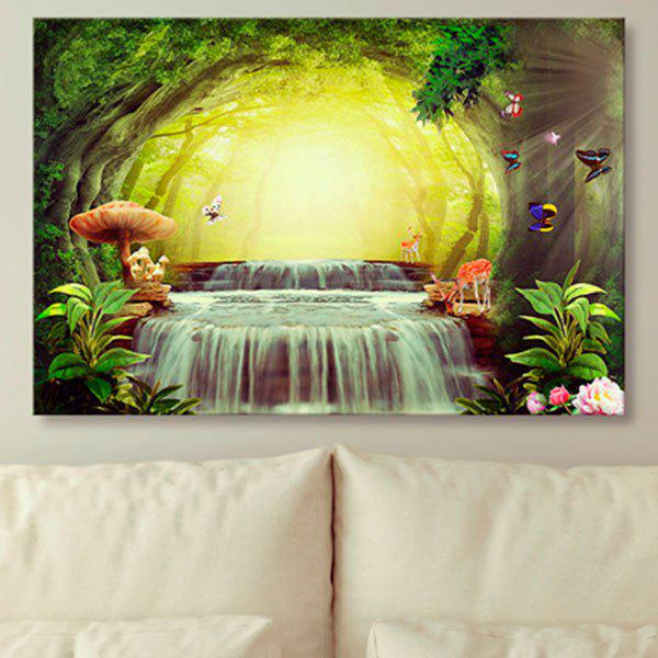 Wonderland Prints Unframed Wall Art Canvas Painting - YELLOW 1PC:31*47 INCH( NO FRAME )