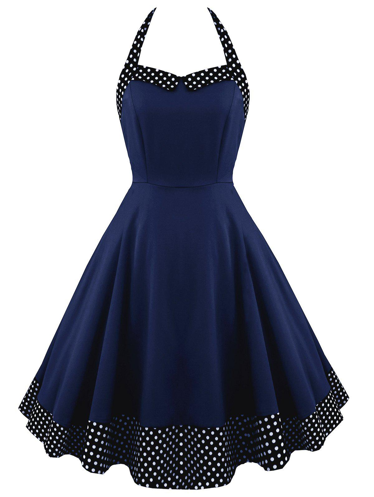Halter Lace Up Polka Dot Vintage Dress polka dot lace up halter a line dress