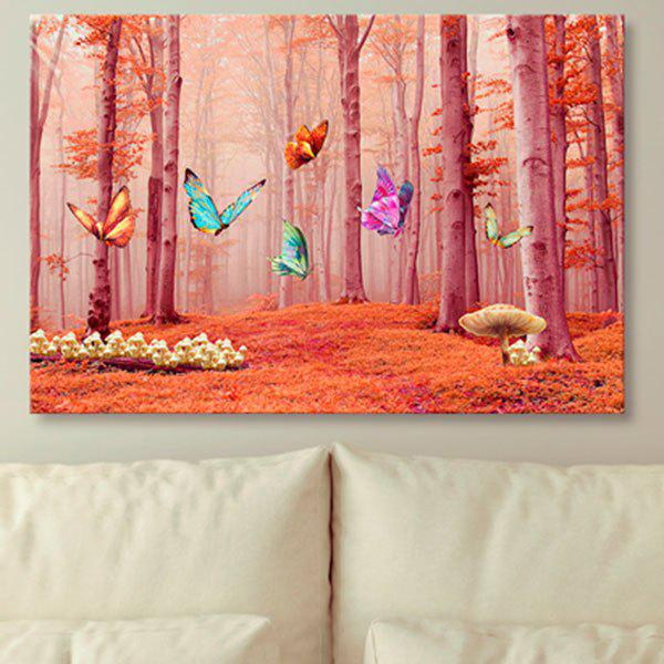 Butterfly Forest Prints Unframed Wall Art Canvas Painting - ORANGE 1PC:24*39 INCH( NO FRAME )