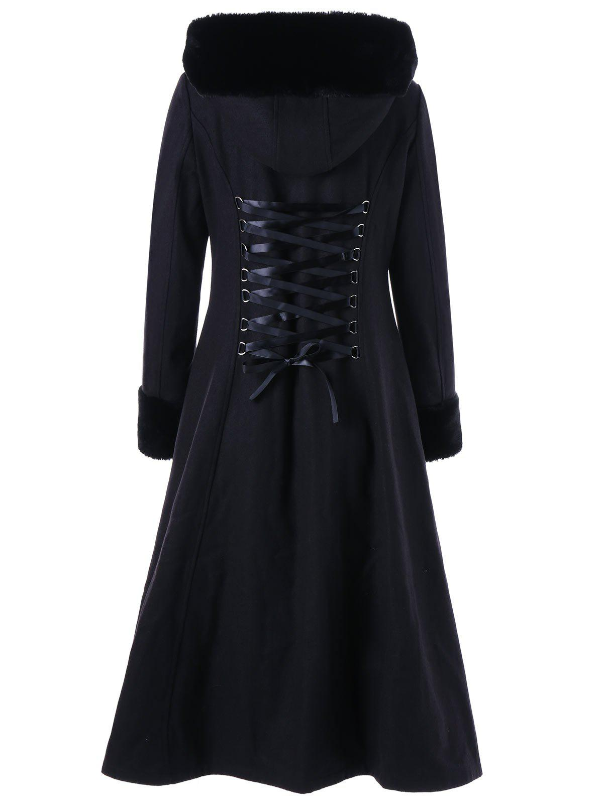 Lace Up Longline Hooded Coat - BLACK XL