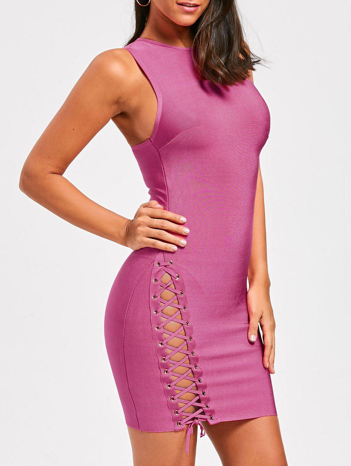 Side Lace Up Sleeveless Bandage Dress - TUTTI FRUTTI M
