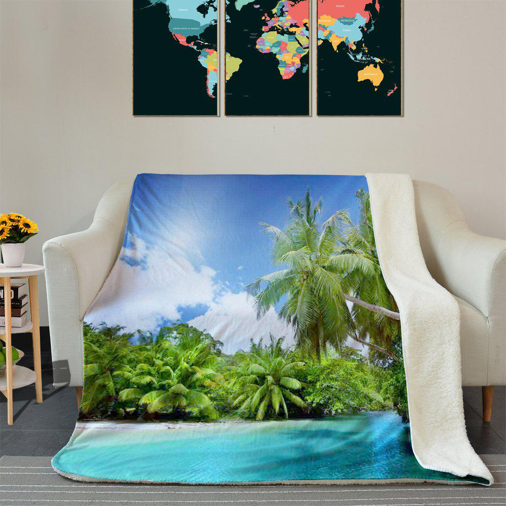 Beach Palm Trees Pattern Fleece Blanket - COLORMIX W59 INCH * L79 INCH