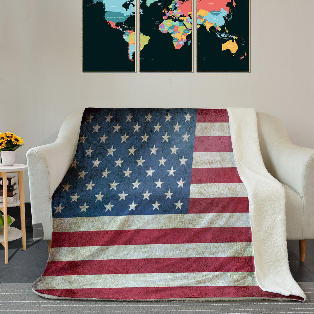 American Flag Pattern Fleece Blanket - COLORMIX W59 INCH * L79 INCH