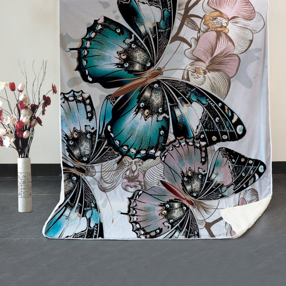 Butterfly Pattern Fleece Thermal Blanket - COLORMIX W39.4INCH*L59.1INCH