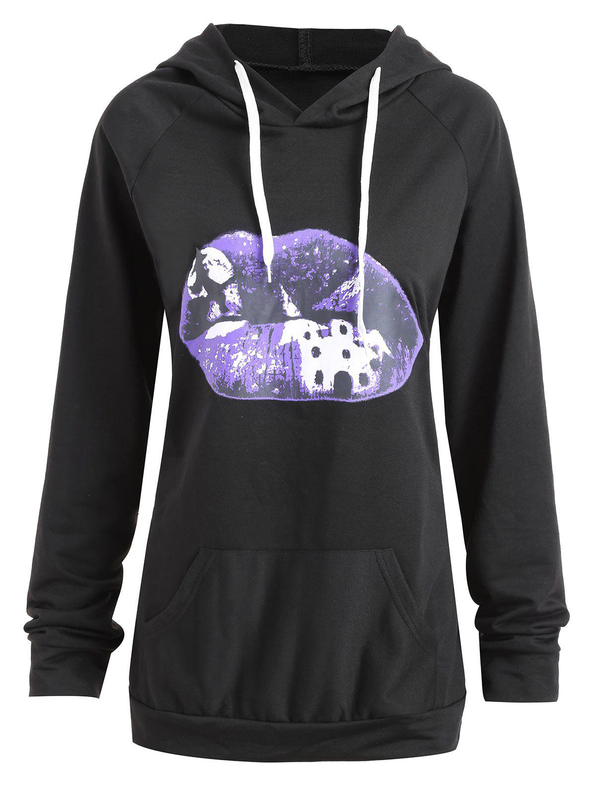 Plus Size Halloween Lip Moon Print Hoodie - BLACK 2XL