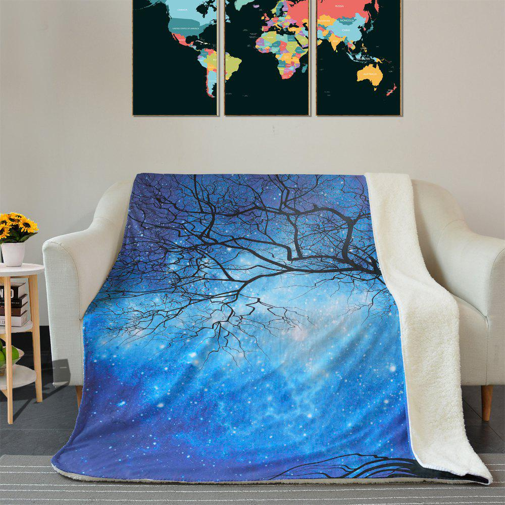 Galaxy Tree Pattern Fleece Thermal Blanket - DEEP BLUE W59 INCH * L79 INCH