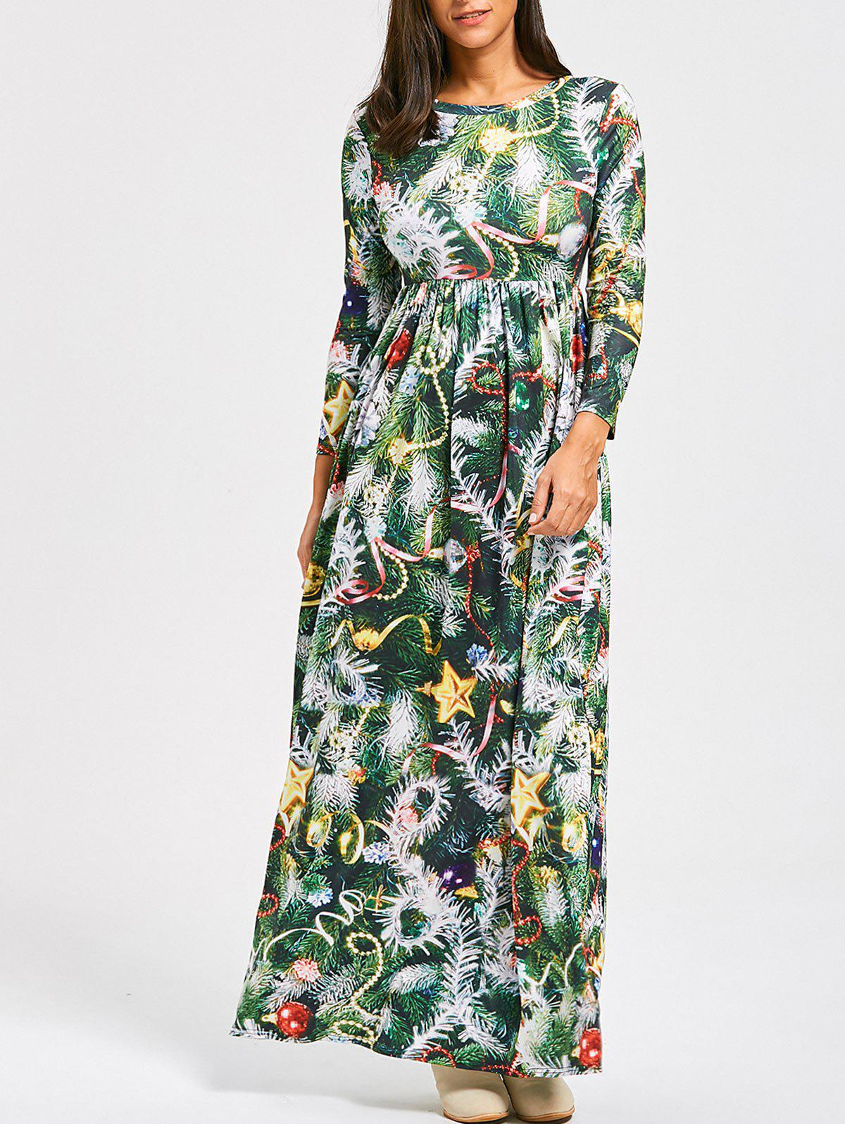 Christmas Tree Print A Line Maxi Dress - GREEN M