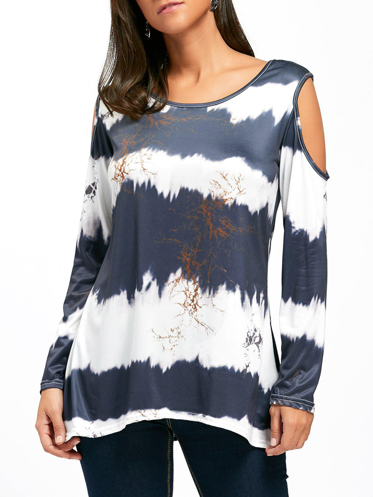Cold Shoulder Long Sleeve Printed Tunic Top long sleeve cold shoulder tunic shift dress