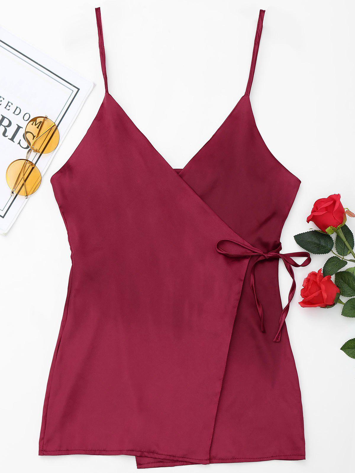 Satin Wrap Slip Dress - WINE RED S
