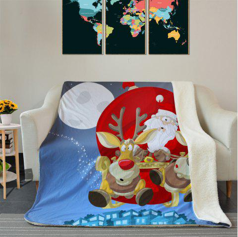 Christmas Santa Sleigh Pattern Soft Fleece Blanket - COLORMIX W39.4INCH*L59.1INCH