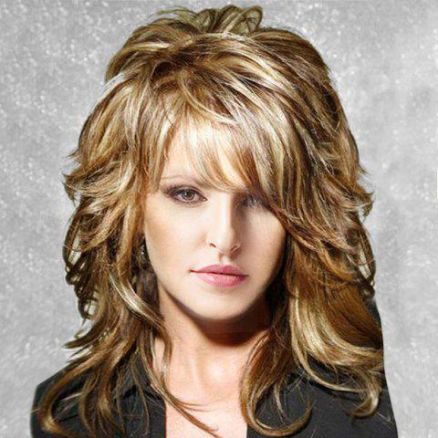 Medium Inclined Bang Layered Fluffy Slightly Curly Human Hair Wig - COLORMIX