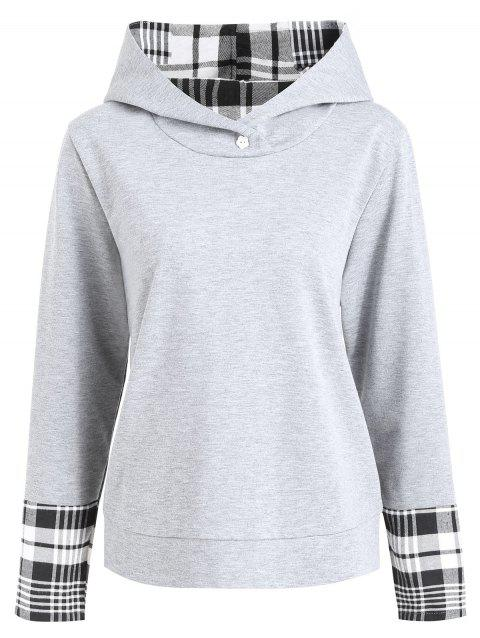 Sweat Capuche Grande Taille Empiècement à Carreaux - Gris XL