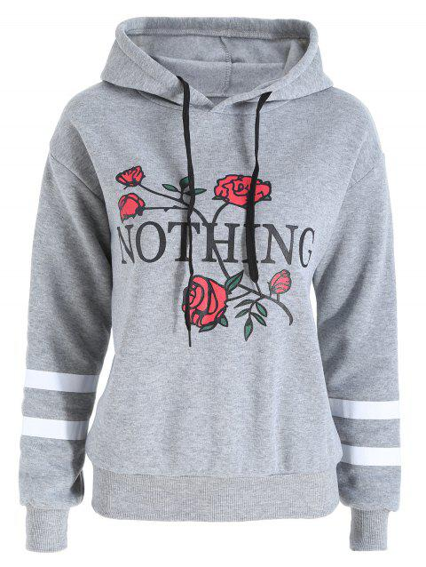 Plus Size Flocking Floral Letter Print Hoodie - GRAY 3XL