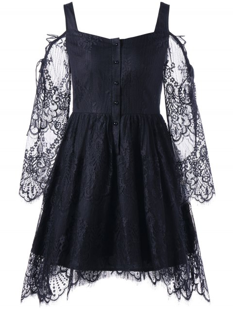 Halloween Cold Shoulder Eyelash Lace Dress - BLACK M