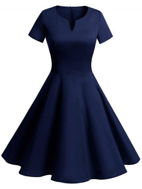 Vintage Fit and Flare Knee Length Dress - PURPLISH BLUE L