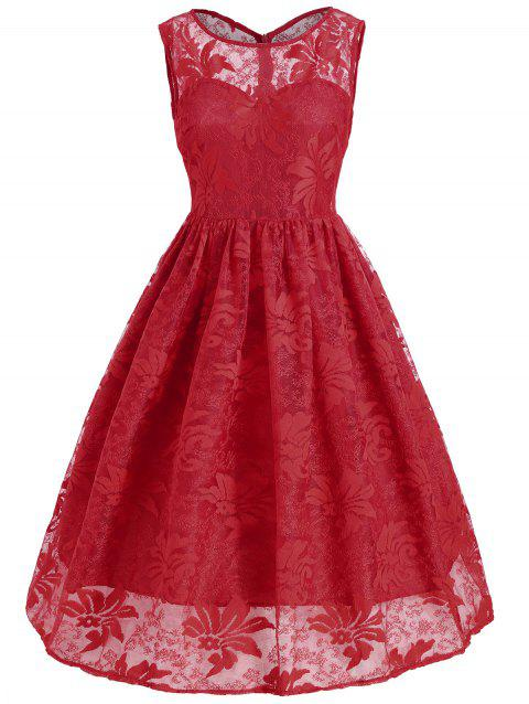Lace Insert Sleeveless A Line Dress - RED XL