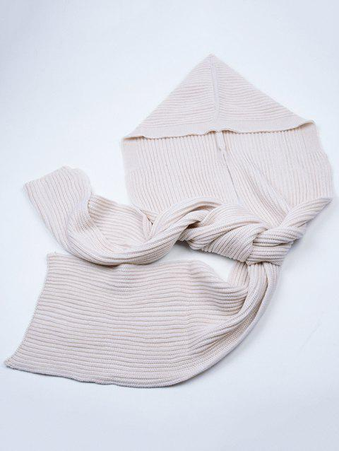 Vintage Soft Crochet Hooded Long Scarf - OFF WHITE