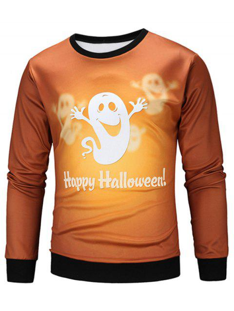Sweat-shirt Halloween Fantôme Animé Imprimé - multicolore 2XL