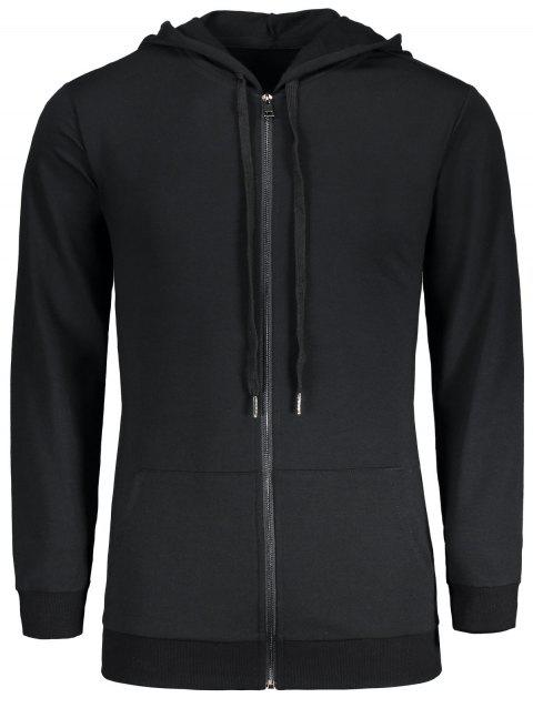 Zipper Up Kangaroo Pocket Longline Hoodie - BLACK M