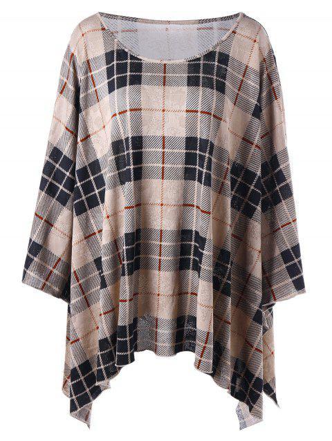 Plus Size Plaid Crescent Hem Top - KHAKI 4XL