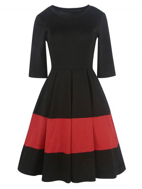 Two Tone Vintage Pleated A Line Dress - BLACK XL