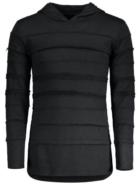 Raw Edge Insert Stripe Pullover Hoodie - BLACK L