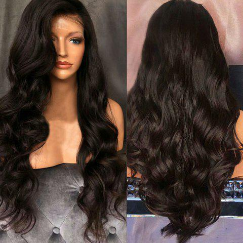 Free Part Long Fluffy Body Wave Lace Front Synthetic Wig - NATURAL BLACK