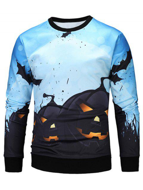 Sweat-shirt 3D Halloween Lampe de Citrouille - multicolore M