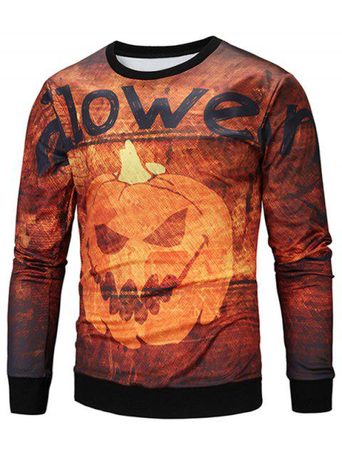 Halloween Graphic Pumpkin Lamp Print Sweatshirt - COLORMIX L