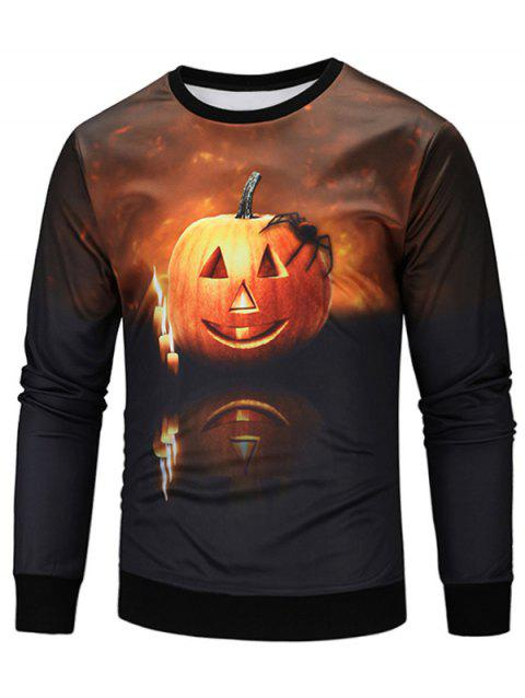 Halloween Spider Pumpkin Lamp Print Sweatshirt - COLORMIX M