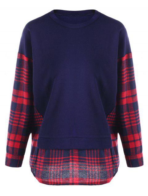 Plus Size Plaid Curved Sweatshirt - BLUE 3XL