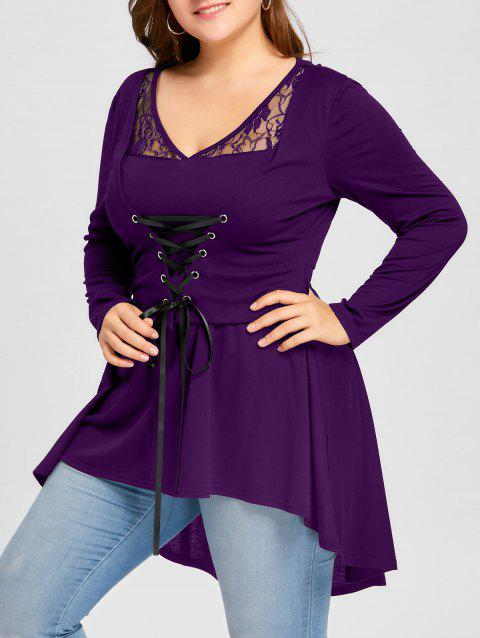 b90fde278a18c8 41% OFF] 2019 Plus Size Lace Up High Low Top In PURPLE | DressLily