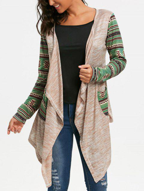 Long Sleeve Geometric Print Draped Cardigan - OFF WHITE 2XL