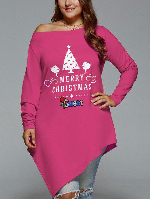 Plus Size Christmas Skew Neck Asymmetrical T-shirt - TUTTI FRUTTI 4XL