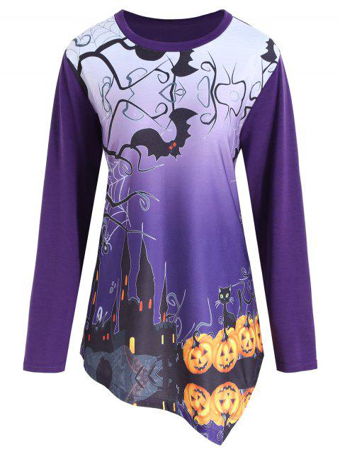 Plus Size Halloween Pumpkin Asymmetrical Tee - PURPLE 5XL