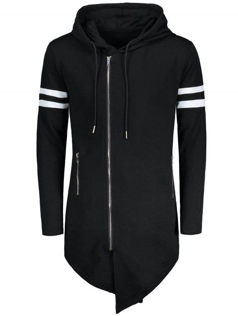 Zip Up Varsity Stripe Asymmetrical Long Hoodie - BLACK XL