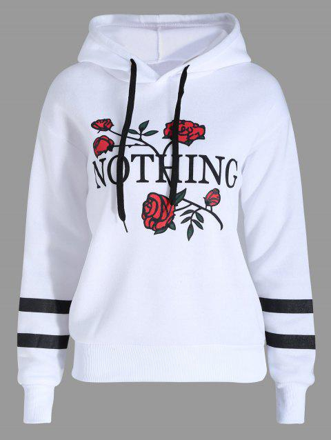 Plus Size Flocking Floral Letter Print Hoodie - WHITE 2XL