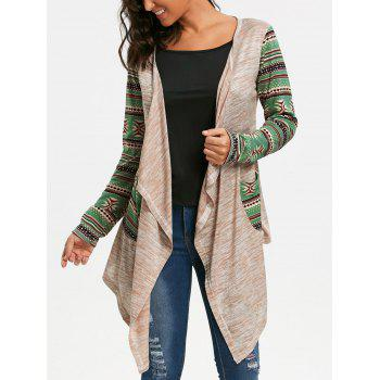 Long Sleeve Geometric Print Draped Cardigan - OFF-WHITE S