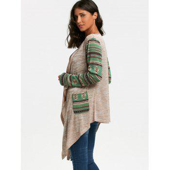 Long Sleeve Geometric Print Draped Cardigan - OFF WHITE OFF WHITE