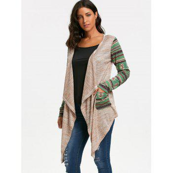 Long Sleeve Geometric Print Draped Cardigan - OFF WHITE L