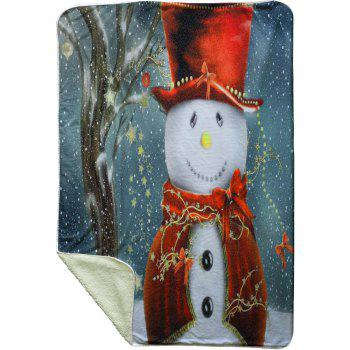 Christmas Snowman Pattern Soft Fleece Blanket - COLORMIX W59 INCH * L79 INCH