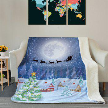 Snowy Christmas Night Pattern Soft Fleece Blanket - COLORMIX COLORMIX