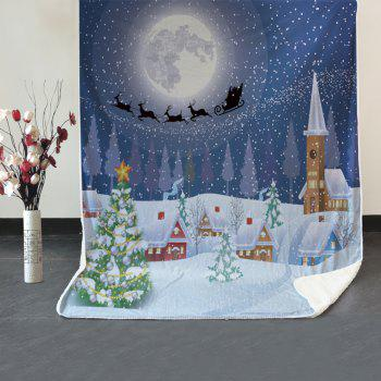 Snowy Christmas Night Pattern Soft Fleece Blanket - COLORMIX W59 INCH * L79 INCH