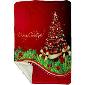 Christmas Star Tree Pattern Soft Fleece Blanket - RED RED