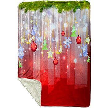 Christmas Hanging Decorations Pattern Soft Fleece Blanket - RED W59 INCH * L79 INCH