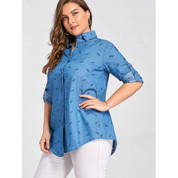 Plus Size Feather Printed Button Up Denim Shirt - BLUE 3XL