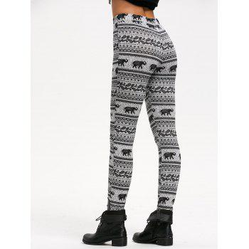 Fitted Leggings with Bohemian Elephant Print - GRAY XL